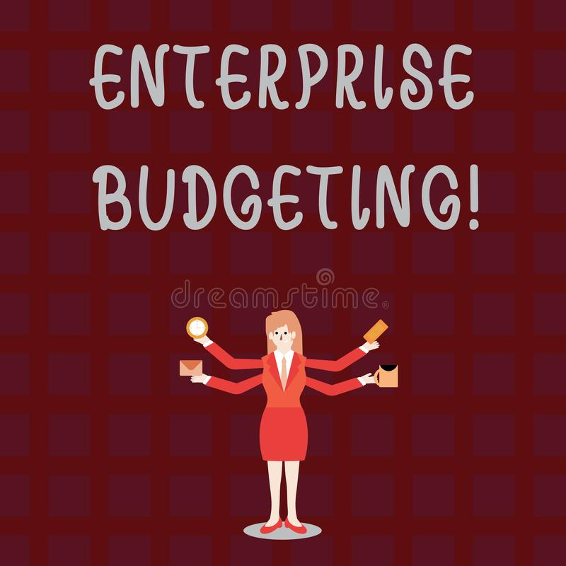 Text sign showing Enterprise Budgeting. Conceptual photo estimated income and expenses associated in business. Text sign showing Enterprise Budgeting. Business royalty free illustration