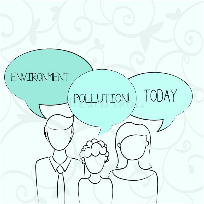 Text sign showing Environment Pollution. Conceptual photo The contaminants into the natural environment Family of One. Text sign showing Environment Pollution stock illustration