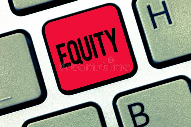 Text sign showing Equity. Conceptual photo quality of being fair and impartial race free One hand Unity.  stock image
