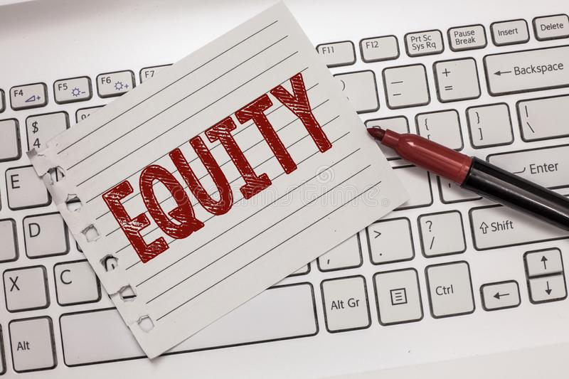 Text sign showing Equity. Conceptual photo quality of being fair and impartial race free One hand Unity.  royalty free stock images