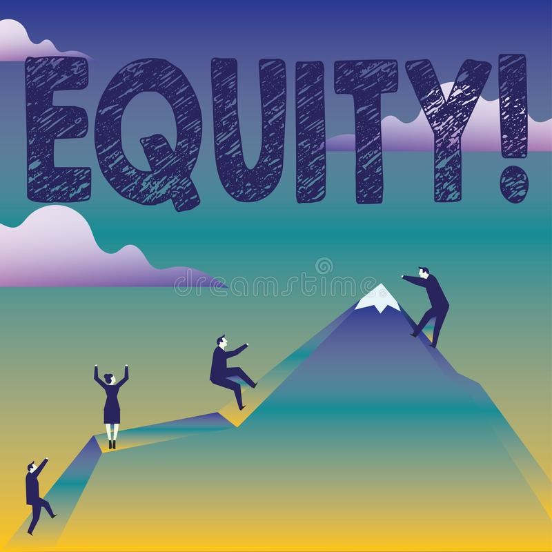 Text sign showing Equity. Conceptual photo Value of a company divided into equal parts owned by shareholders Business. Text sign showing Equity. Business photo vector illustration