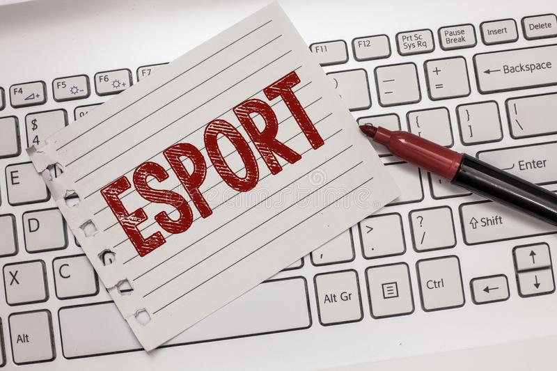 Text sign showing Esport. Conceptual photo multiplayer video game played competitively for spectators and fun.  stock photography