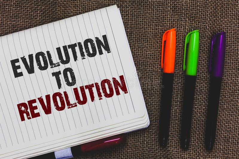 Text sign showing Evolution To Revolution. Conceptual photo adapting to way of living for creatures and humans Open notebook page stock photo