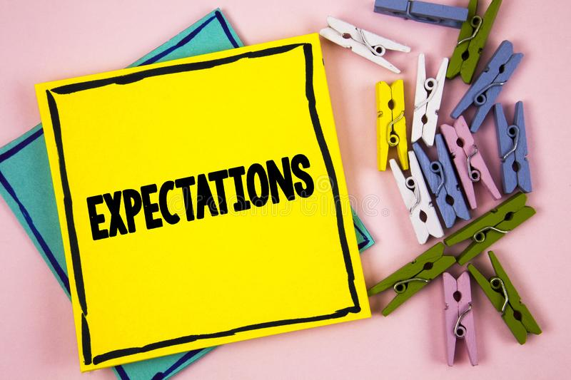 Text sign showing Expectations. Conceptual photo Huge sales in equity market assumptions by an expert analyst written on Sticky No. Text sign showing stock images