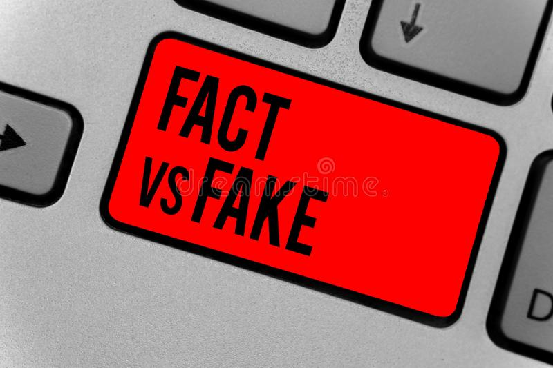 Text sign showing Fact Vs Fake. Conceptual photo Rivalry or products or information originaly made or imitation Keyboard red key I. Ntention create computer royalty free stock photos
