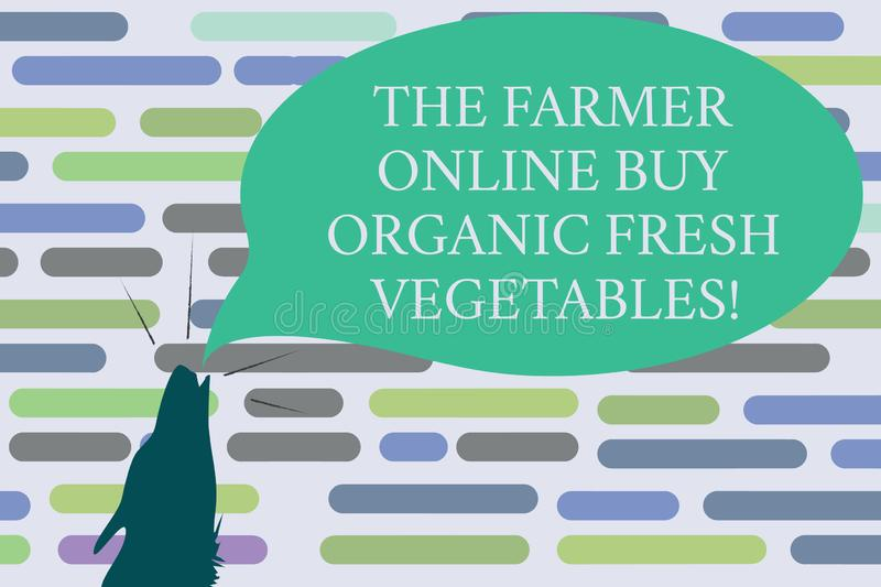 Text sign showing The Farmer Online Buy Organic Fresh Vegetables. Conceptual photo Purchase healthy food Contour shape of Wolf. Head Pointing upward Howling royalty free illustration