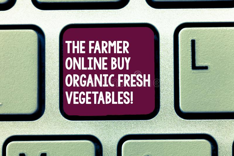 Text sign showing The Farmer Online Buy Organic Fresh Vegetables. Conceptual photo Purchase healthy food Keyboard key. Intention to create computer message stock illustration