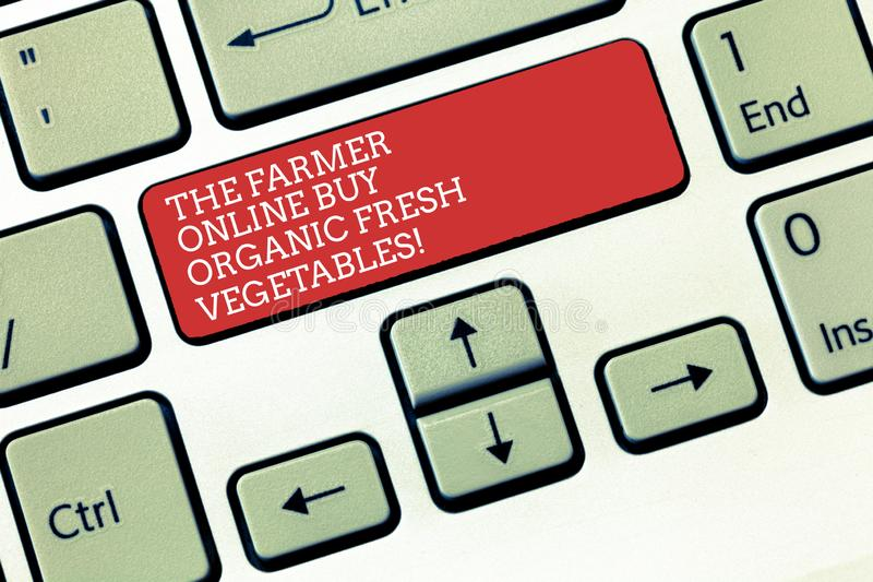 Text sign showing The Farmer Online Buy Organic Fresh Vegetables. Conceptual photo Purchase healthy food Keyboard key. Intention to create computer message royalty free stock photo