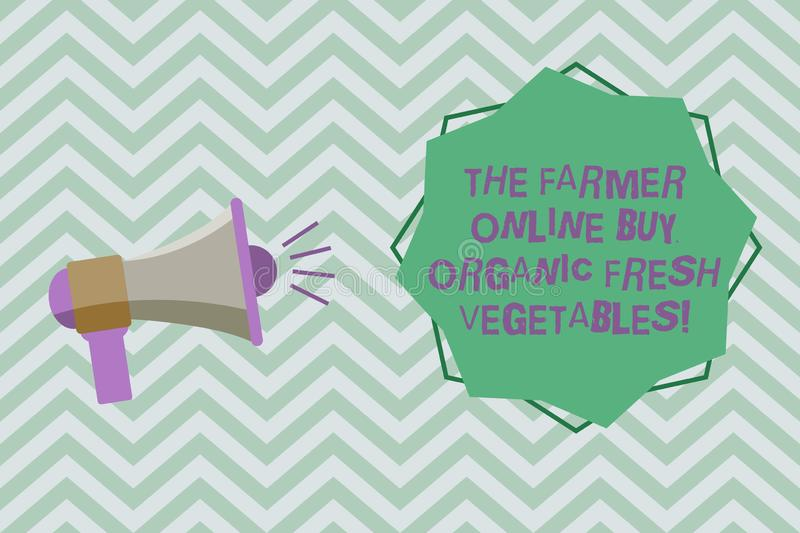 Text sign showing The Farmer Online Buy Organic Fresh Vegetables. Conceptual photo Purchase healthy food Megaphone with Sound. Volume Effect icon and Blank 8 royalty free illustration