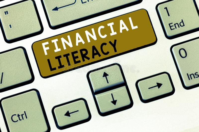 Text sign showing Financial Literacy. Conceptual photo Understand and knowledgeable on how money works.  royalty free stock photos
