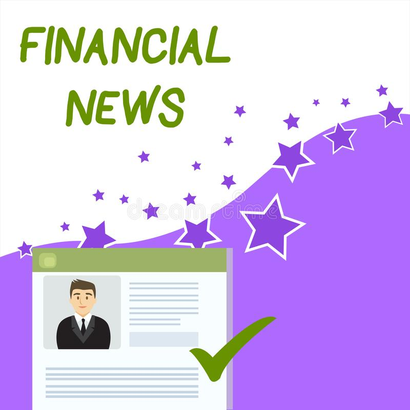 Text sign showing Financial News. Conceptual photo Investment banking Fund analysisagement Regulation and trading. Text sign showing Financial News. Business vector illustration