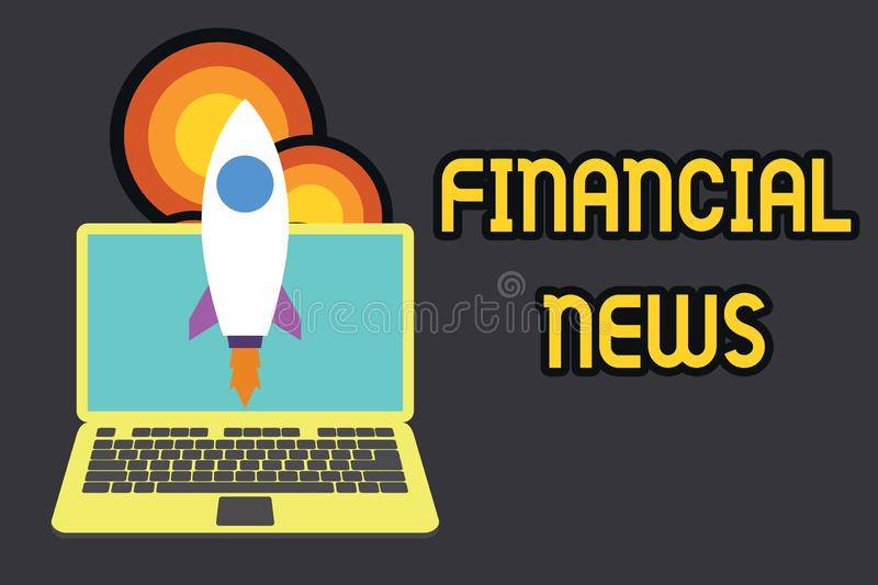 Text sign showing Financial News. Conceptual photo Investment banking Fund analysisagement Regulation and trading. Text sign showing Financial News. Business stock illustration