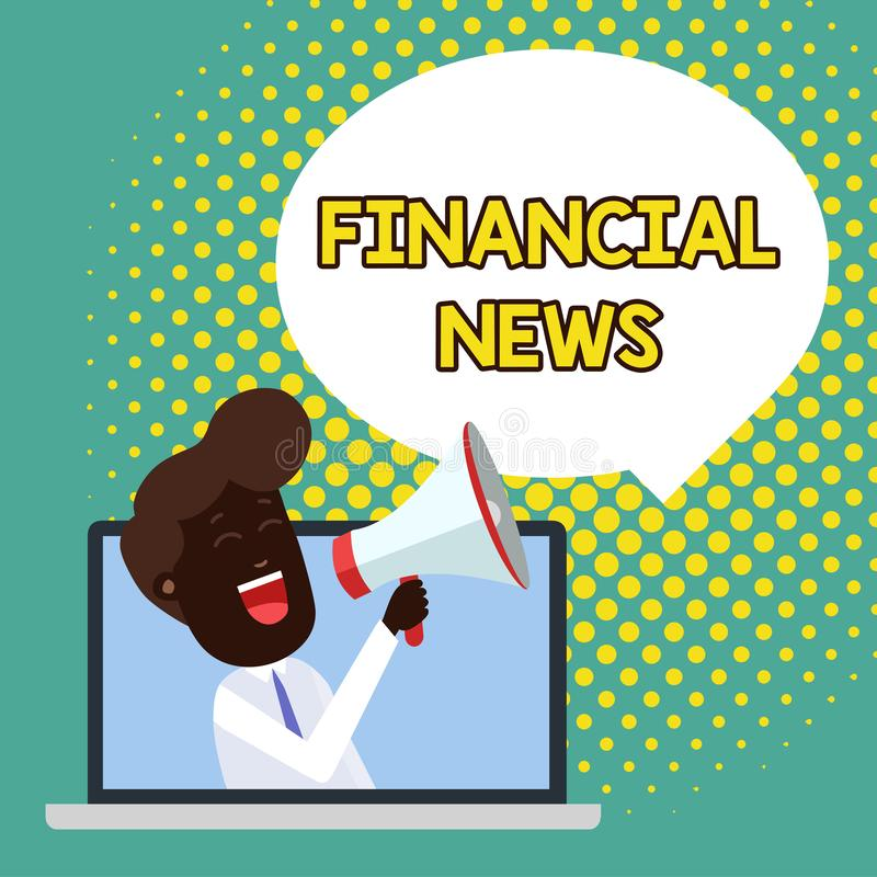 Text sign showing Financial News. Conceptual photo Investment banking Fund analysisagement Regulation and trading Man. Text sign showing Financial News. Business royalty free illustration