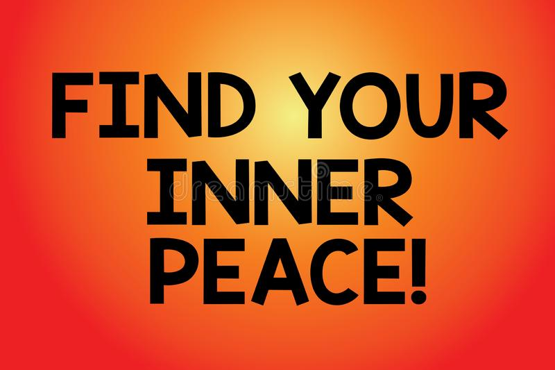 Text sign showing Find Your Inner Peace. Conceptual photo Peaceful style of life Positivism Meditation Blank Color. Rectangular Shape with Round Light Beam vector illustration