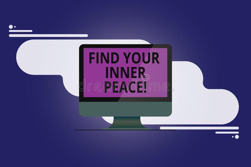 Text sign showing Find Your Inner Peace. Conceptual photo Peaceful style of life Positivism Meditation Mounted Computer Monitor. Blank Reflected Screen on vector illustration