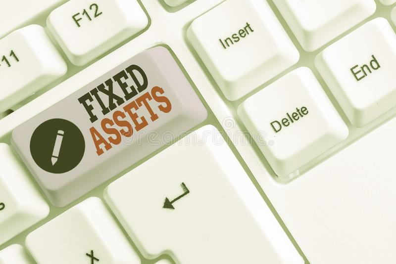 Text sign showing Fixed Assets. Conceptual photo longterm tangible piece of property or equipment a firm owns White pc. Text sign showing Fixed Assets. Business stock image