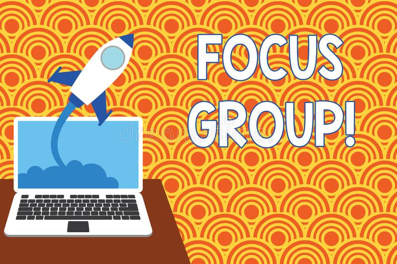 Text sign showing Focus Group. Conceptual photo showing assembled to participate in discussion about product Successful royalty free illustration