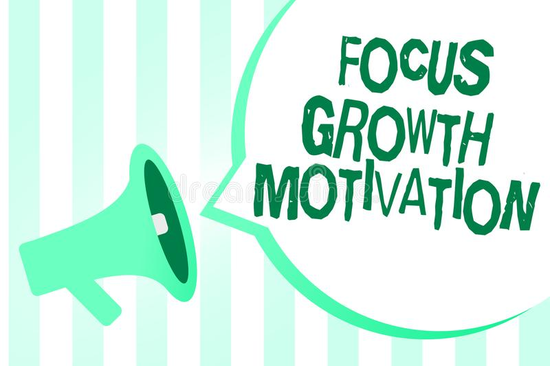 Text sign showing Focus Growth Motivation. Conceptual photo doing something with accuracy increase productivity Megaphone loudspea stock illustration