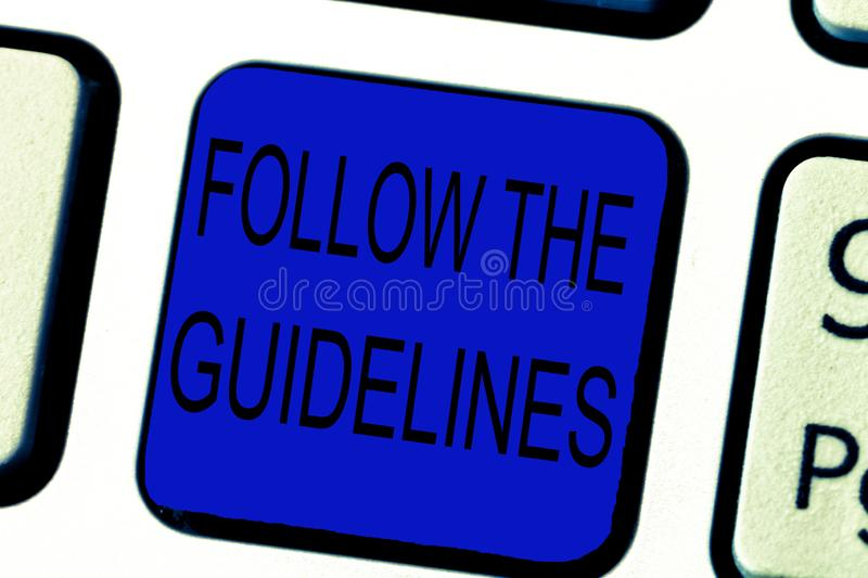 Text sign showing Follow The Guidelines. Conceptual photo Manual of Style Follow a Specified Rule Accordingly.  royalty free stock images