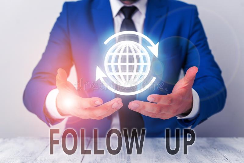 Text sign showing Follow Up. Conceptual photo Additional info or any activity that needs to check secondly. Text sign showing Follow Up. Business photo royalty free stock photo