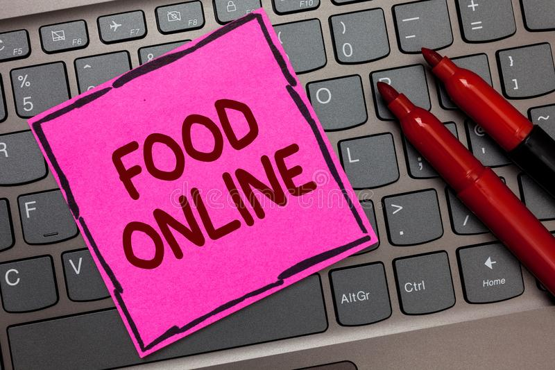 Text sign showing Food Online. Conceptual photo asking for something to eat using phone app or website Pink paper keyboard Inspira stock photo