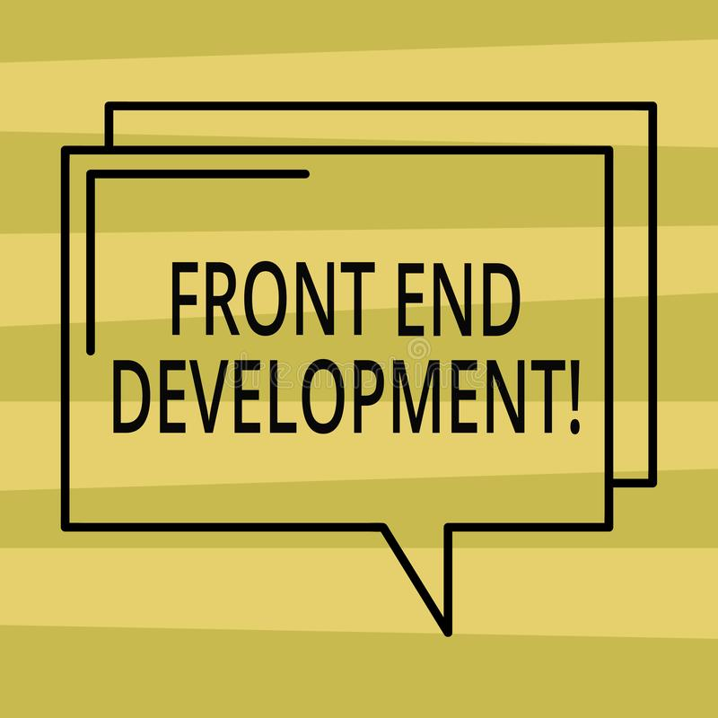 Text sign showing Front End Development. Conceptual photo Altering data to graphical interface for user to view royalty free illustration