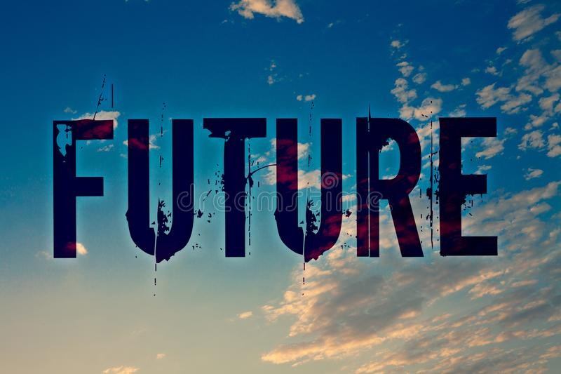 Text sign showing Future. Conceptual photo Period of time following the present moment Events that will happen Ideas messages blue. Clouds cloudy sky splatters stock images