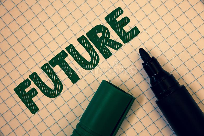 Text sign showing Future. Conceptual photo Period of time following the present moment Events that will happen Squared paper open. Marker ideas messages stock photo