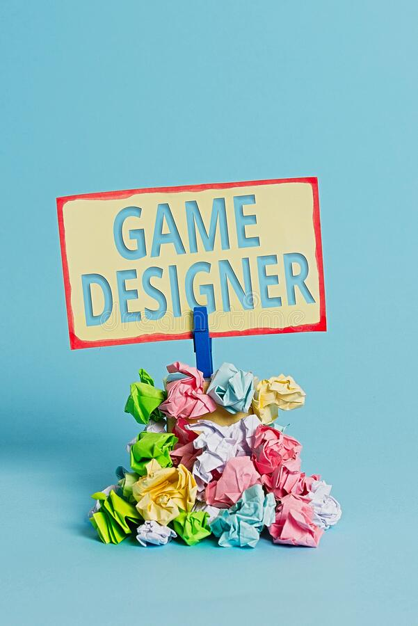 Text sign showing Game Designer. Conceptual photo Campaigner Pixel Scripting Programmers Consoles 3D Graphics Reminder pile stock photography