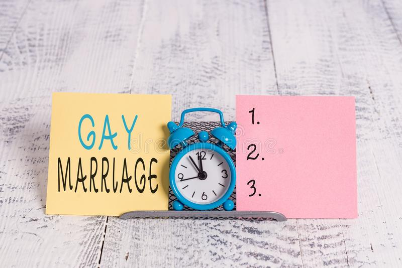 Text sign showing Gay Marriage. Conceptual photo entered into in a civil or religious ceremony of the same sex. royalty free stock photography