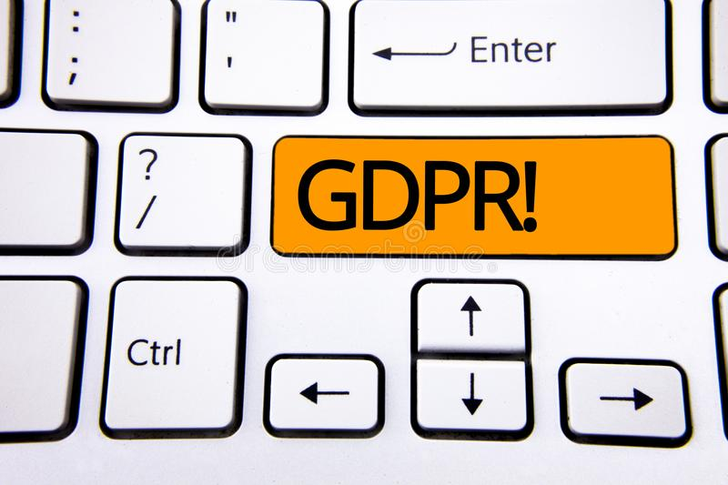 Text sign showing Gdpr Motivational Call. Conceptual photo General Data Protection Regulation Information Safety written on Orange stock photography