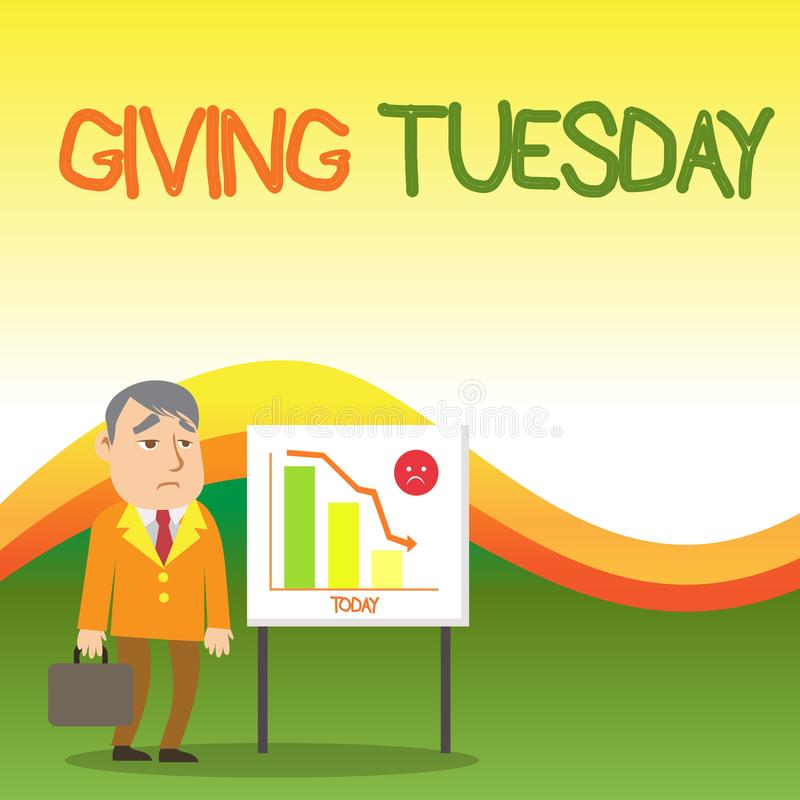 Text sign showing Giving Tuesday. Conceptual photo international day of charitable giving Hashtag activism Businessman. Text sign showing Giving Tuesday vector illustration