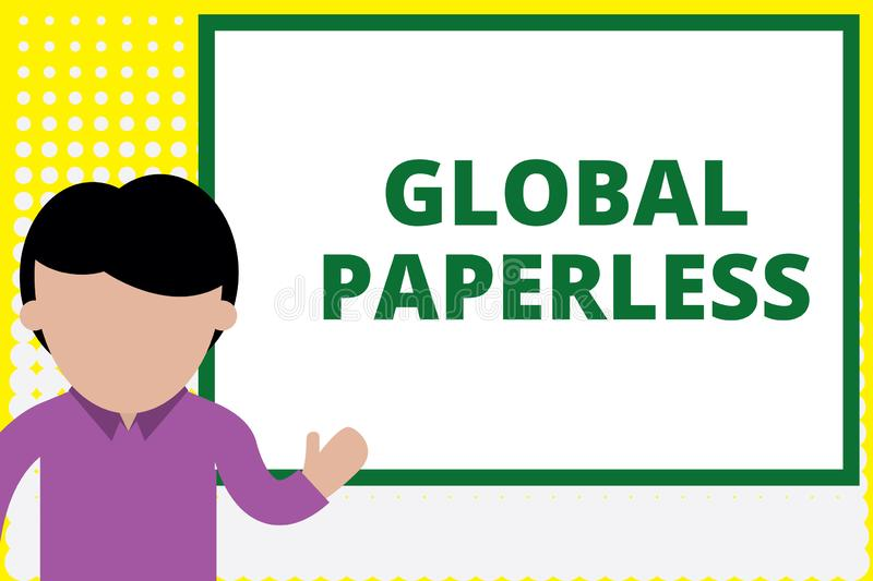 Text sign showing Global Paperless. Conceptual photo going for technology methods like email instead of paper Young man. Text sign showing Global Paperless stock image