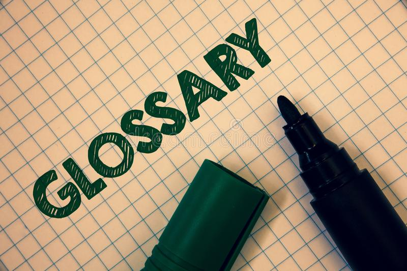 Text sign showing Glossary. Conceptual photo Alphabetical list of terms with meanings Vocabulary Descriptions Squared paper open m. Arker ideas messages stock photos