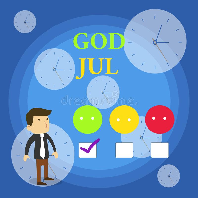 Text sign showing God Jul. Conceptual photo Merry Christmas Greeting showing for new year happy holidays White Male. Text sign showing God Jul. Business photo vector illustration