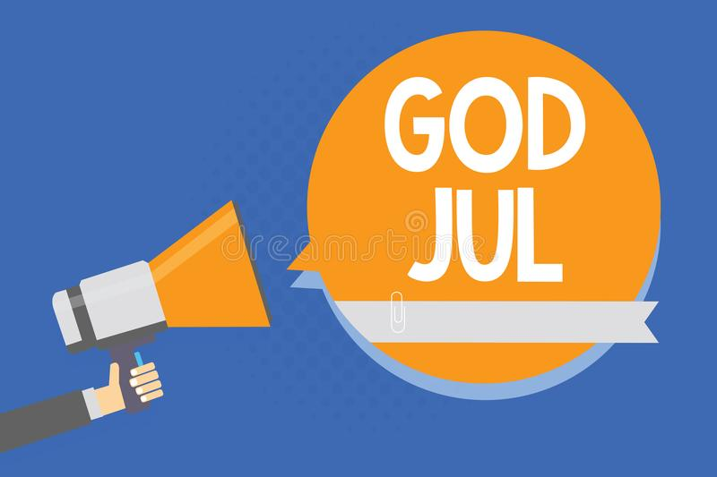 Text sign showing God Jul. Conceptual photo Merry Christmas Greeting people for new year happy holidays Man holding megaphone loud. Speaker orange speech bubble royalty free illustration