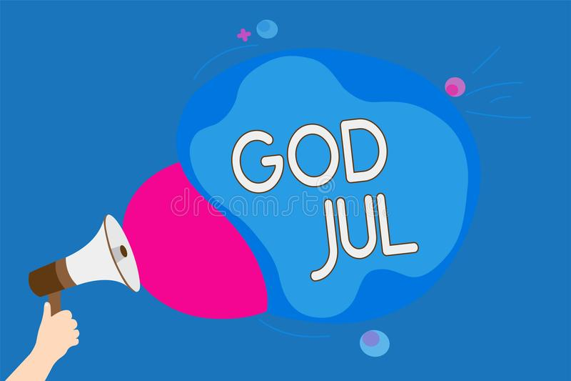 Text sign showing God Jul. Conceptual photo Merry Christmas Greeting people for new year happy holidays Man holding Megaphone loud. Speaker screaming talk vector illustration