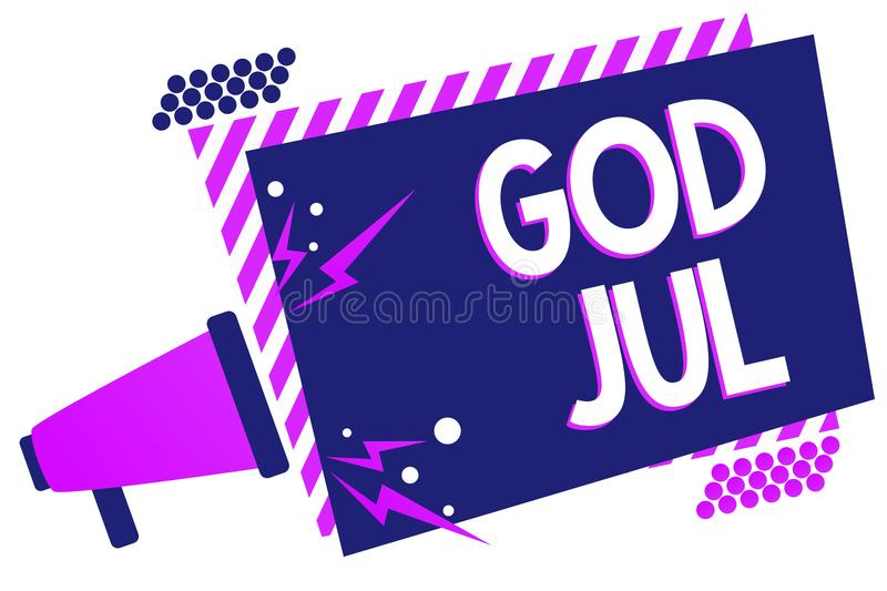 Text sign showing God Jul. Conceptual photo Merry Christmas Greeting people for new year happy holidays Megaphone loudspeaker purp. Le striped frame important royalty free illustration