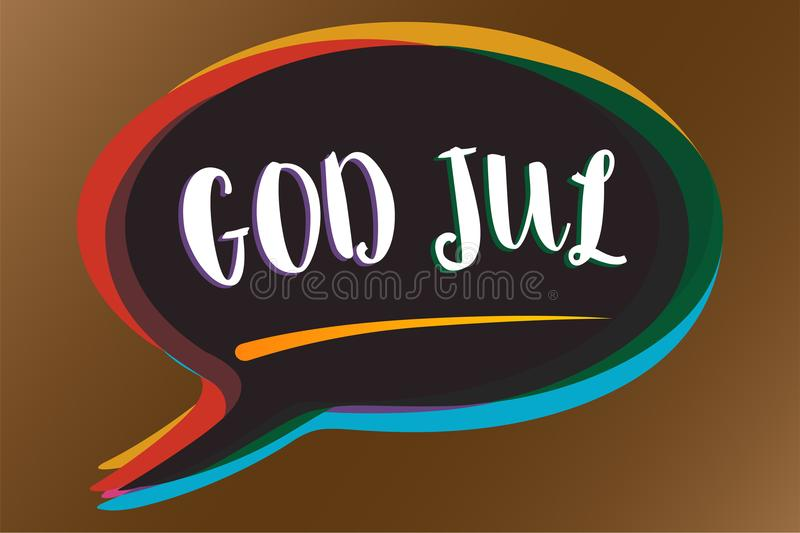 Text sign showing God Jul. Conceptual photo Merry Christmas Greeting people for new year happy holidays Speech bubble idea message. Reminder shadows important vector illustration