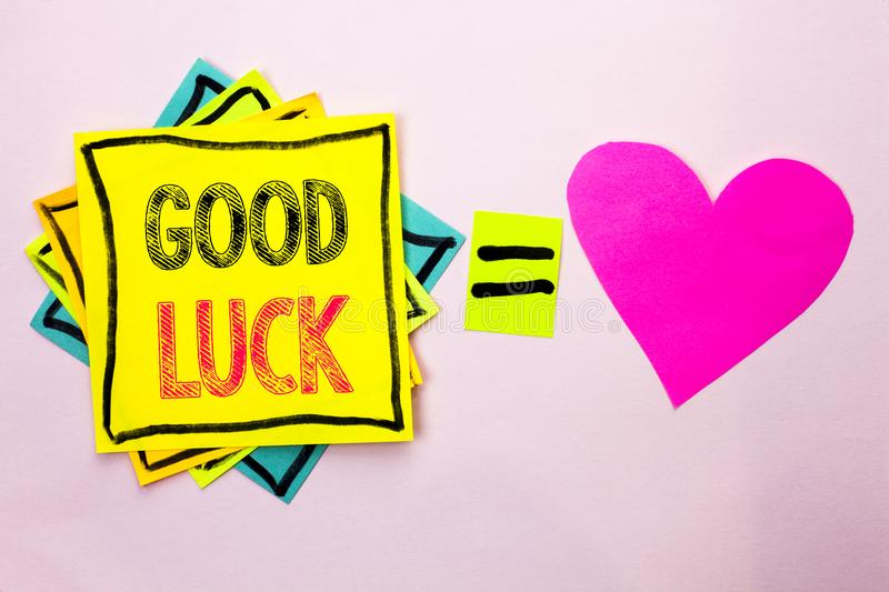 Text sign showing Good Luck. Conceptual photo Lucky Greeting Wish Fortune Chance Success Feelings Blissful written on Stacked Stic. Text sign showing Good Luck stock images