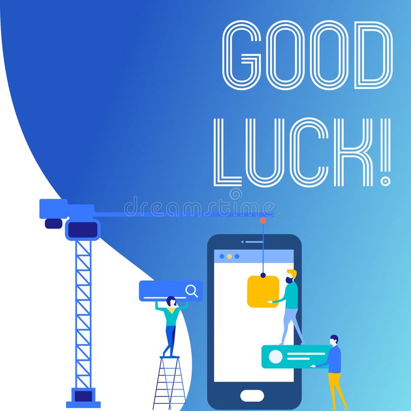 Text sign showing Good Luck. Conceptual photo used praising demonstrating or group for something done good way Staff. Text sign showing Good Luck. Business photo vector illustration