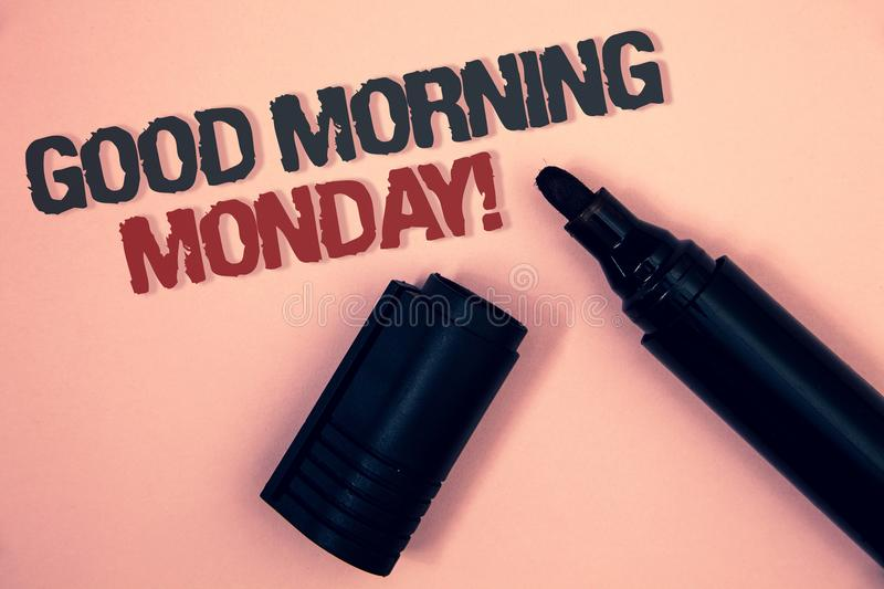 Text sign showing Good Morning Monday Motivational Call. Conceptual photo Happy Positivity Energetic Breakfast Pinkish platform bl. Ack and red message one royalty free stock photo