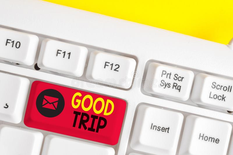 Text sign showing Good Trip. Conceptual photo A journey or voyage,run by boat,train,bus,or any kind of vehicle White pc. Text sign showing Good Trip. Business royalty free stock image