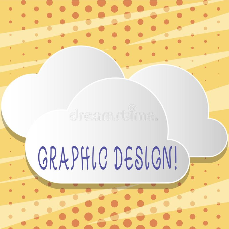 Text sign showing Graphic Design. Conceptual photo Art of combining Text Images in advertising Blank White Fluffy Clouds. Text sign showing Graphic Design stock illustration