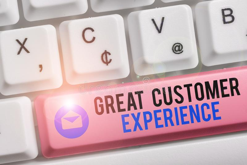 Text sign showing Great Customer Experience. Conceptual photo responding to clients with friendly helpful way White pc. Text sign showing Great Customer royalty free stock image