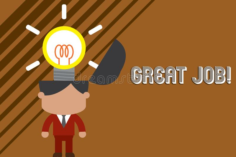 Text sign showing Great Job. Conceptual photo used praising someone for something they have done very well Standing. Text sign showing Great Job. Business photo stock illustration