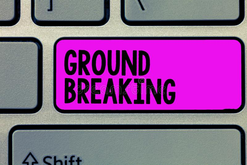 Text sign showing Ground Breaking. Conceptual photo Very new and a big change from other things of its type.  stock photos