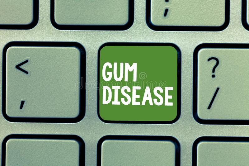 Text sign showing Gum Disease. Conceptual photo Inflammation of the soft tissue Gingivitis Periodontitis.  royalty free stock image