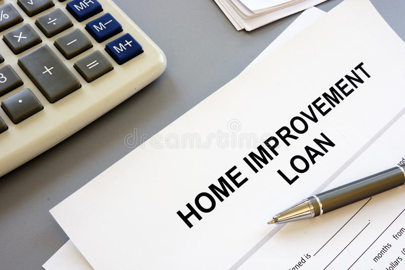 Text sign showing hand writing words home improvement loan. Text sign shows hand writing words home improvement loan royalty free stock photos