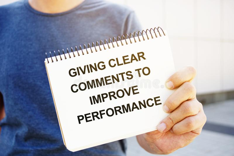 Text sign showing hand written words Giving Clear Comments to Improve Performance. Text sign shows hand written words Giving Clear Comments to Improve royalty free stock photography